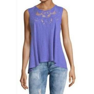 """Free People """"meant to be"""" knit sleevless mesh tank"""